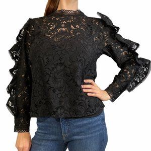 EXPRESS Lace Mock Neck Ruffle Sleeve Top Small